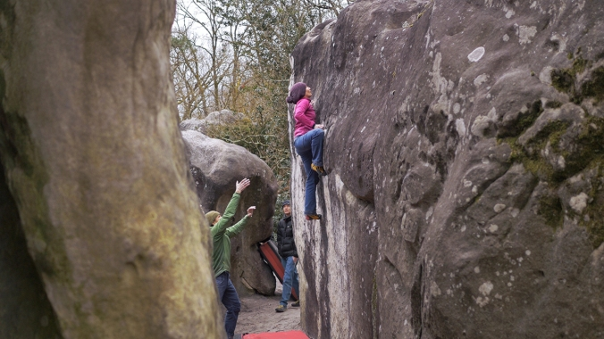 Climbing Red 17 in Cuvier