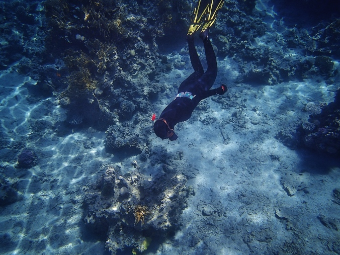 Testing my new freediving suit and a scuba diving weight belt in Jordan (April 2014